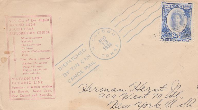 Tonga #58 - Tin Can Canoe Mail Cover 1934 Cruise on Matson Line