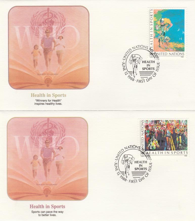 United Nations #526-27 - FDC - New York Cancel 1988 - Health in Sports - 2 Covers