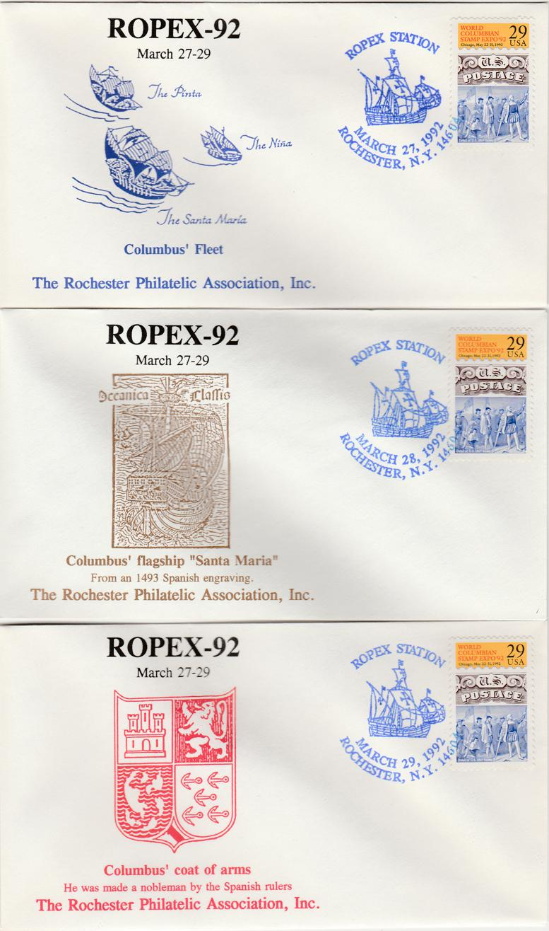 United States sc# 2616 - 3 Covers - ROPEX 1992 - World Columbian Stamp Expo - pm 1992 at Rochester NY
