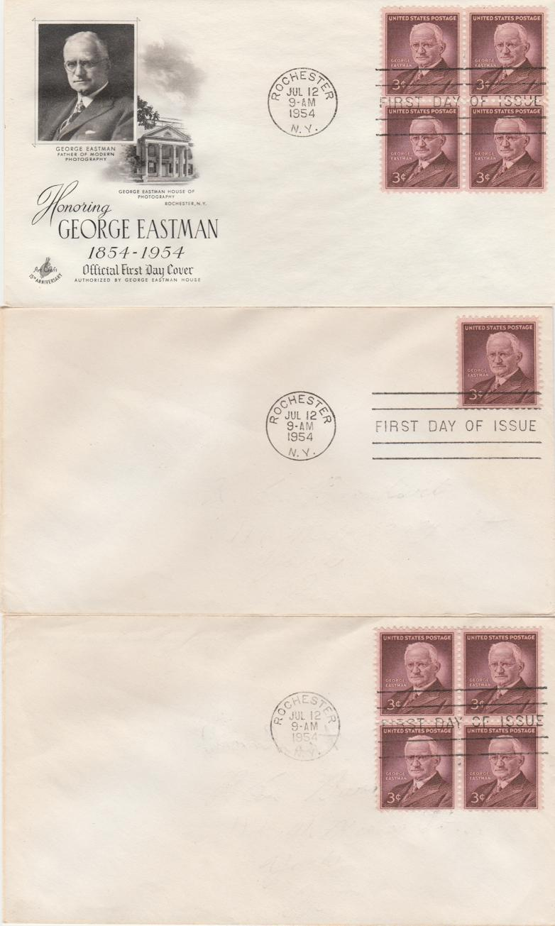 United States sc# 1062 FDC (3 covers) - George Eastman 12-Jul-54
