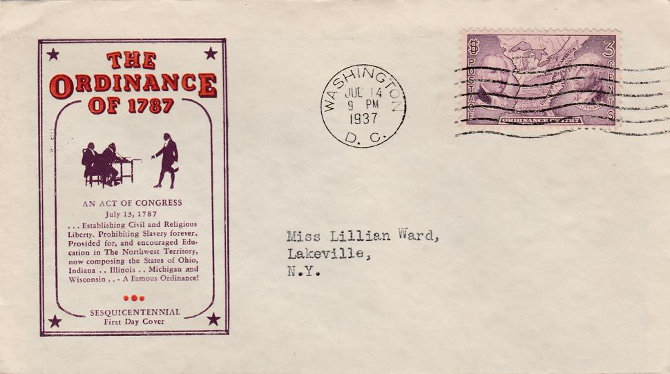 United States sc# 795 on Cached Cover - Ordinance of 1787 - pm 1937 at Washington DC