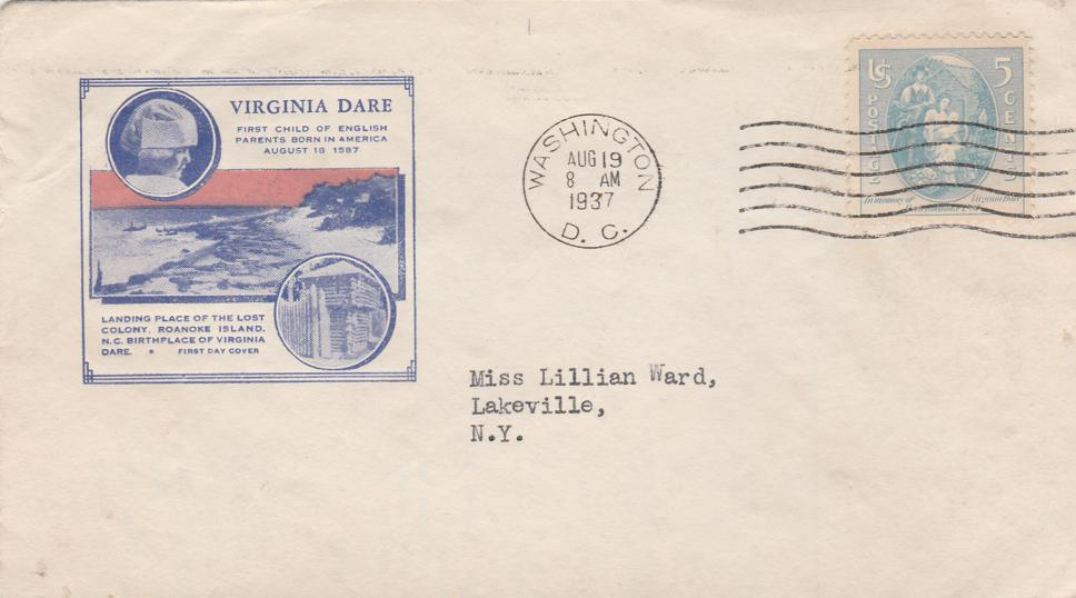 United States sc# 796 on Cover - Virginia Dare Birth 350th Anniversary - pm 1937 at Washington DC