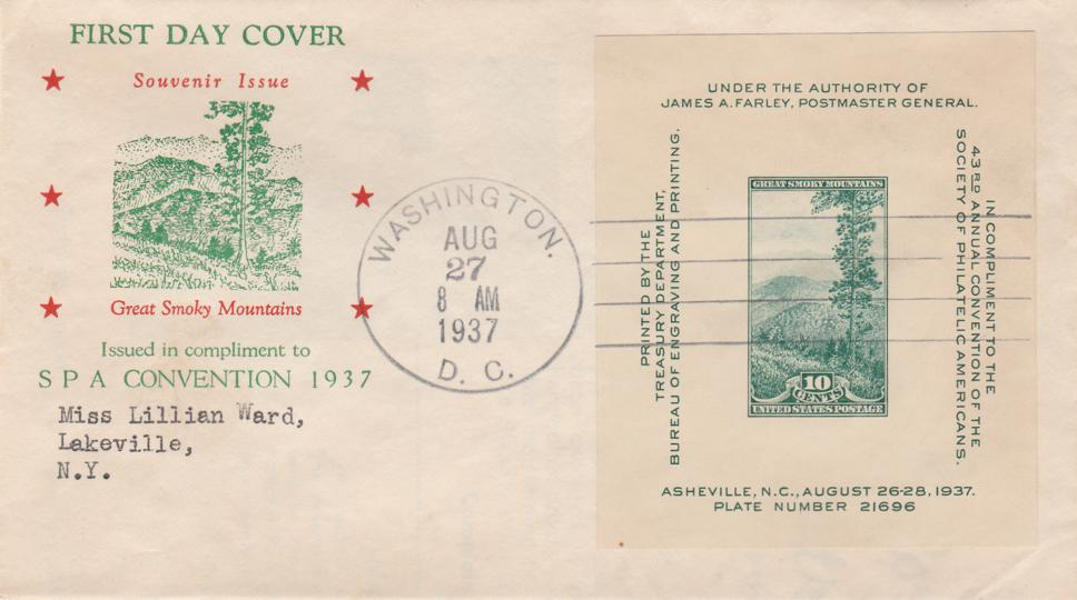 United States sc# 797 - Smoky Mountains - S.P.A. Convention Souvenir Sheet - pm 1937 at Wahington DC