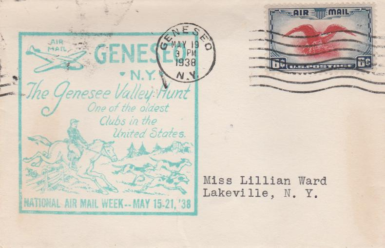 United States sc# C23 - National Air Mail Week -Geneseo NY 1938 - pm 1938