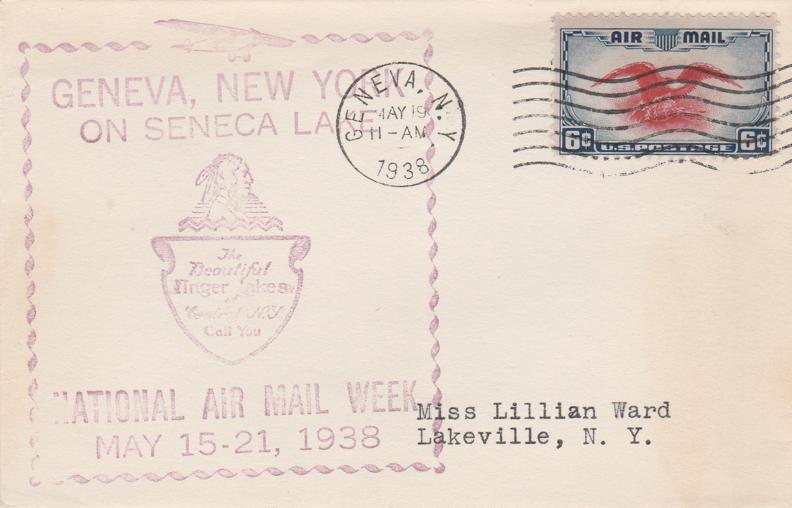 United States sc# C23 - National Air Mail Week - Geneva NY 1938 - pm 1938