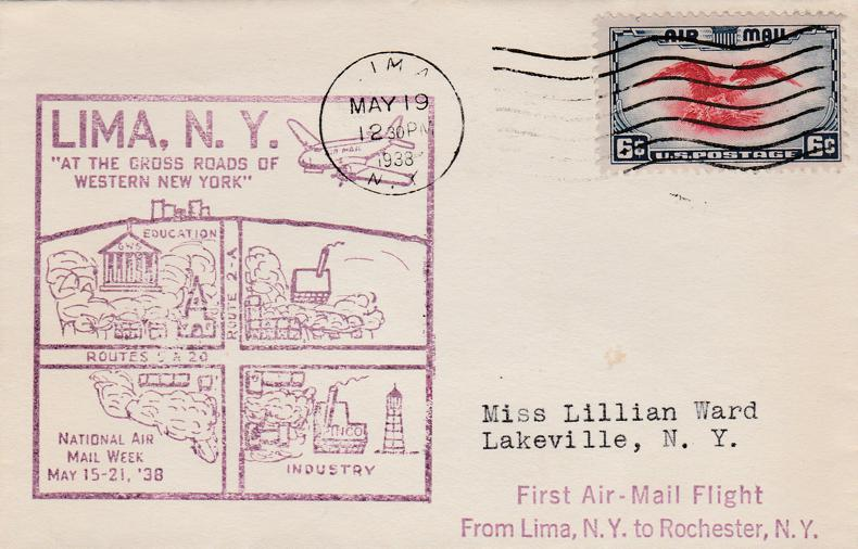 US First AIRMAIL Flight Cover sc# C23 - Lima NY to Rochester NY - pm 1938