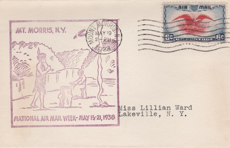 United States sc# C23 - National Air Mail Week - Mount Morris NY 1938 - pm 1938