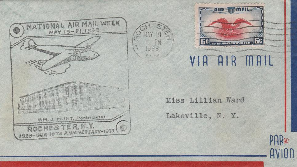 United States sc# C23 - National Air Mail Week - Rochester NY 1938 - pm 1938