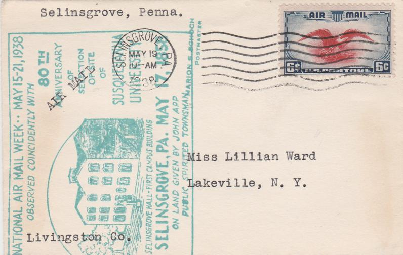 United States sc# C23 - National Air Mail Week - Selinsgrove PA 1938 - pm 1938
