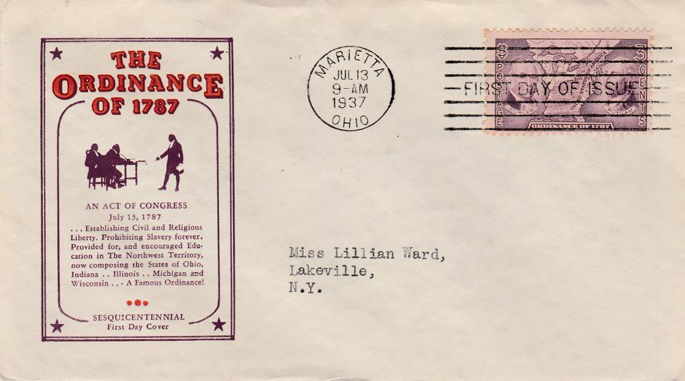 United States sc# 795 FDC - Ordinance of 1787