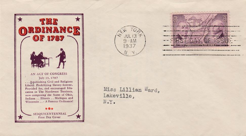 United States sc# 795 FDC - Ordinance of 1787 - pm at NYC July 13, 1937