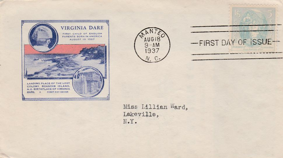 United States sc# 796 FDC - Virginia Dare Birth 350th Anniversary - pm 1937
