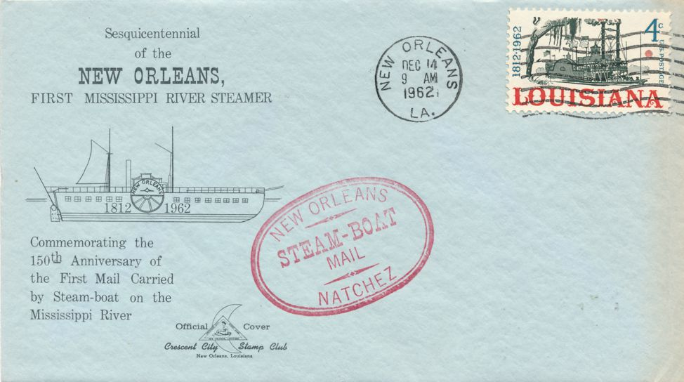 US sc# 1197 Louisiana Steam Boat on Cover - Crescent City Stamp Club - pm 1962 at New Orleans