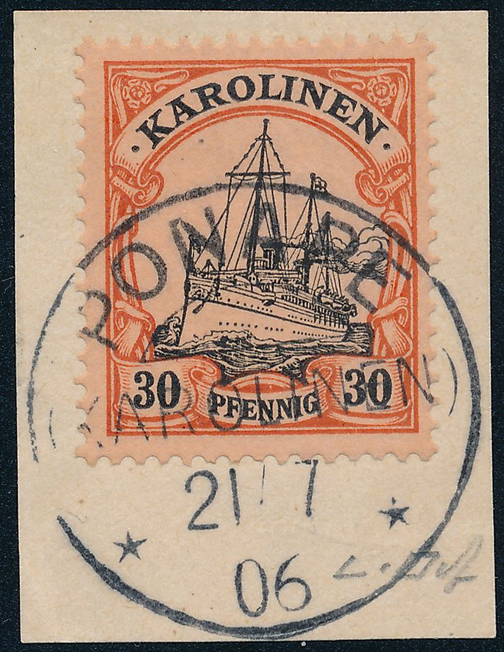 German Caroline Islands sc# 12 - Used on Piece - Ponape Karolinen - Expertized - pm 1906