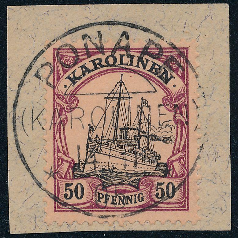 German Caroline Islands sc# 14 Used on Piece - Ponape Karolinen - BOTHE - pm 1905