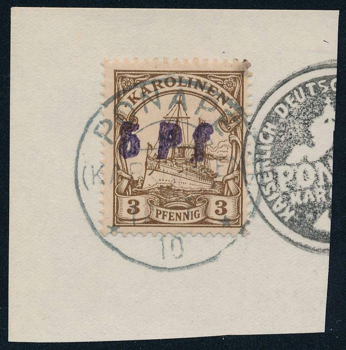 German Caroline Islands sc# 20 - 5pf on 3pf - Space Filler - Wrong Seal - Karolinen