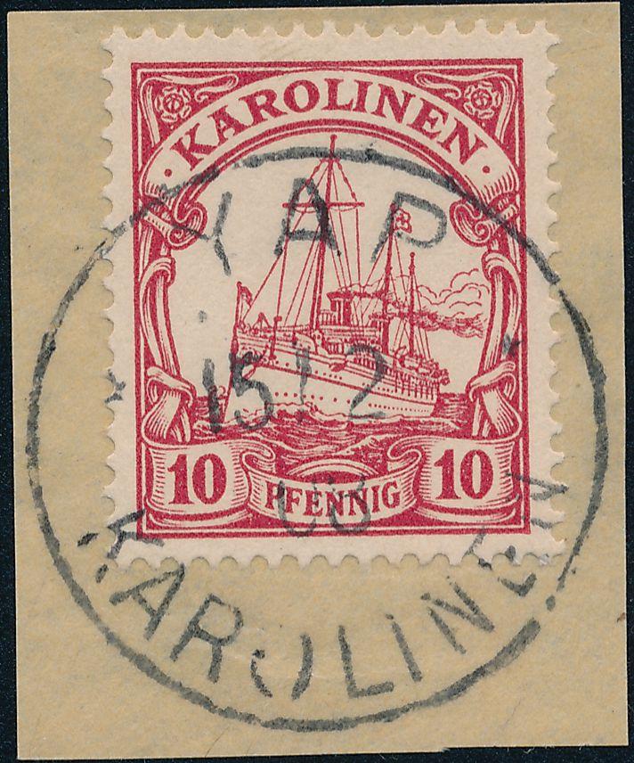 German Caroline Islands sc# 9 Used on Piece - Yap Karolinen - BOTHE - pm 1908