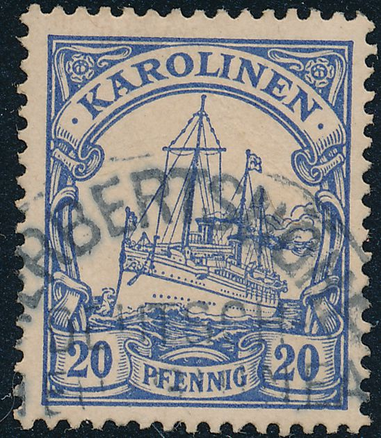 German Caroline Islands sc# 10 - 20 pf - Used - Cancel Herbertshohe New Guinea
