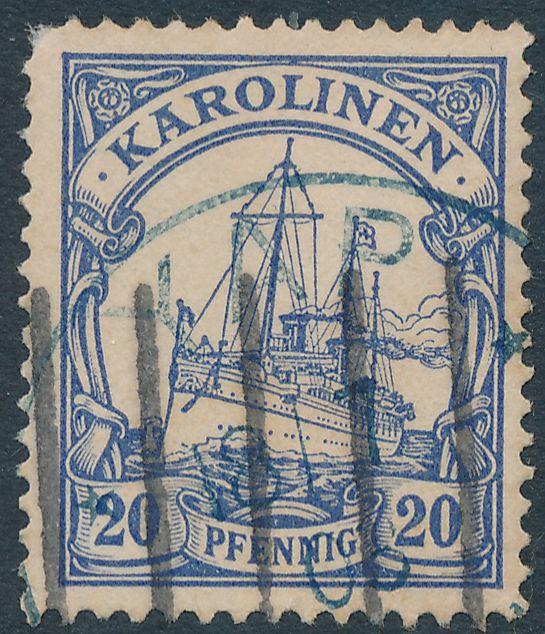 German Caroline Islands sc# 10 Used at YAP Karolinen 1903 - Blue Ink Black Killer