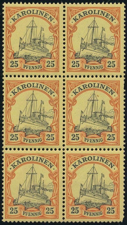 Caroline Islands sc# 11 - Block of 6 - MNH - VF - Kaiser's Yacht - Karolinen