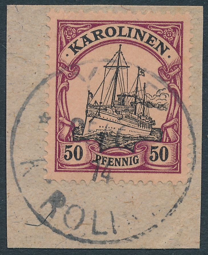 German Caroline Islands sc# 14 - Used on Piece Yap Karolinen 1914 - pm 1914
