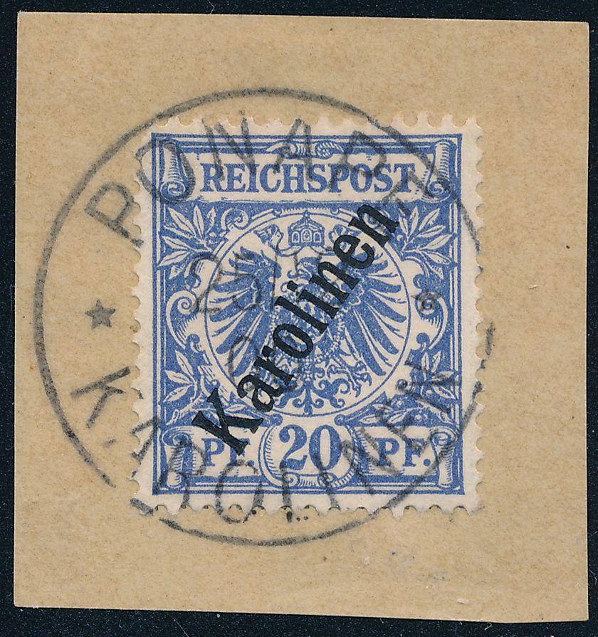 German Caroline Islands sc# 4 - Used on Piece - Ponape - Expert Markings - pm 1900