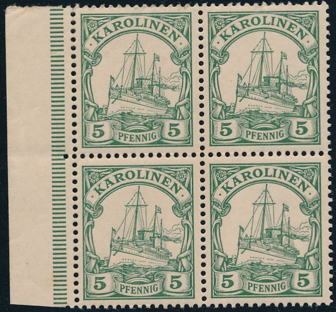 Caroline Islands sc# 8 - Block of 4 - MNH - Kaiser's Yacht - Karolinen