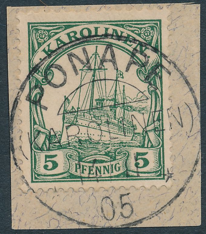 German Caroline Islands sc# 8 Used on piece Ponape - Second Day of Use - pm 1905