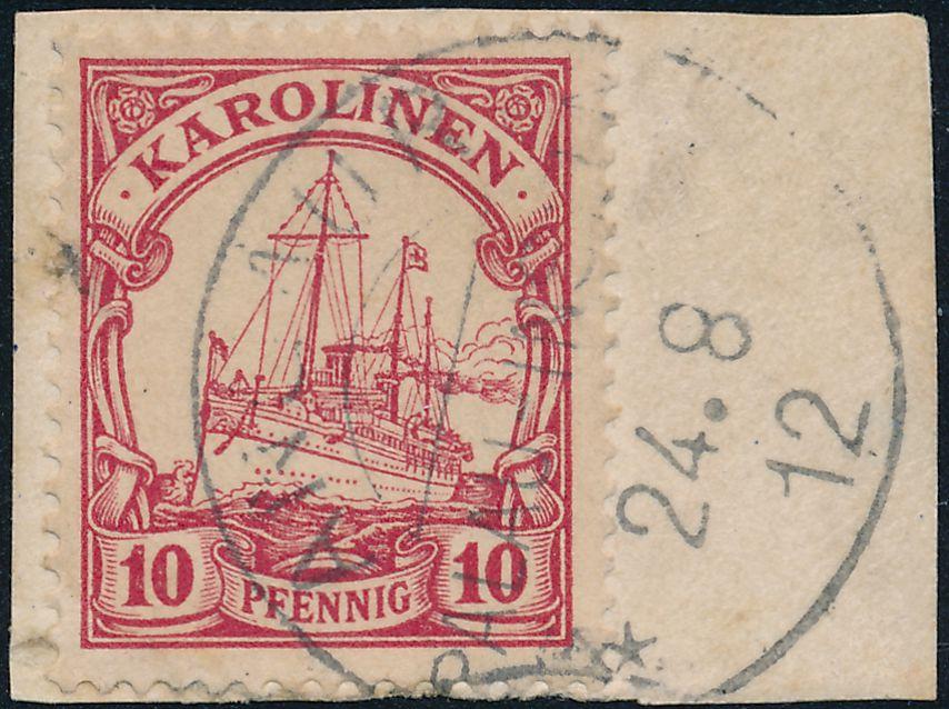 German Caroline Islands sc# 9 - Used on Piece - Angaur Palau 1912 - Karolinen - pm 1912 at Angaur Palau-Inseln