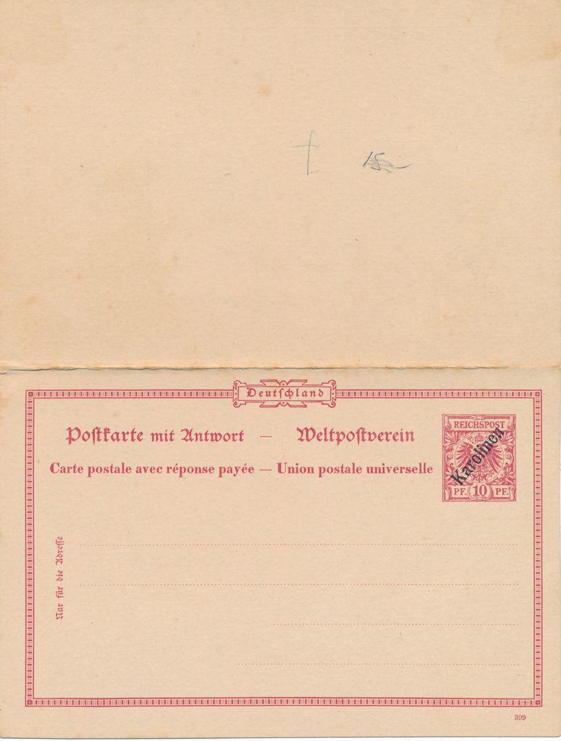 Caroline Islands Mi P8 - Mint 10pf+10pf - Postal Card with Attached Return Card