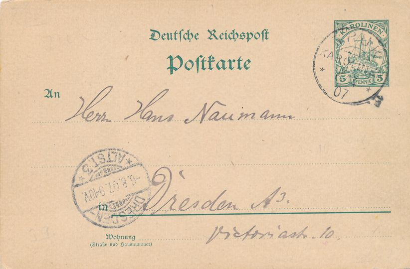 Caroline Islands Mi P7 Used Postal Card - Truk 1907 - Rcvd Dresden Germany - pm 1907