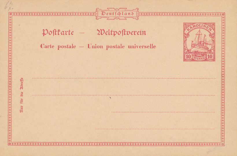 Caroline Islands Mi P8 - Mint Postal Card 10 pf Karolinen
