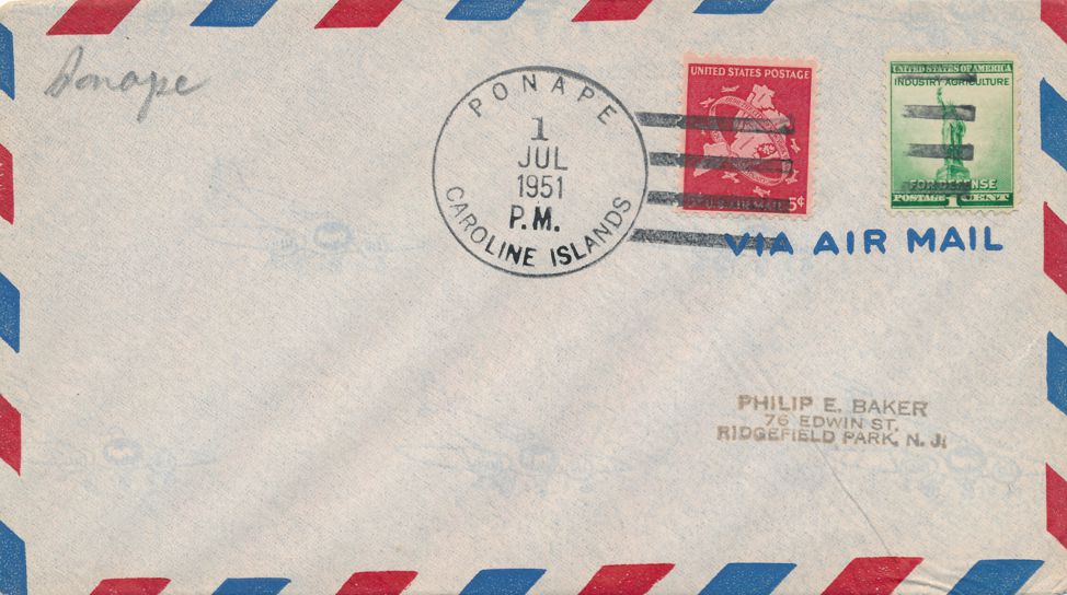 US sc# C38 on Cover 1951 - Ponape Caroline Islands - AAMC # 290C - pm 1951 at July 1
