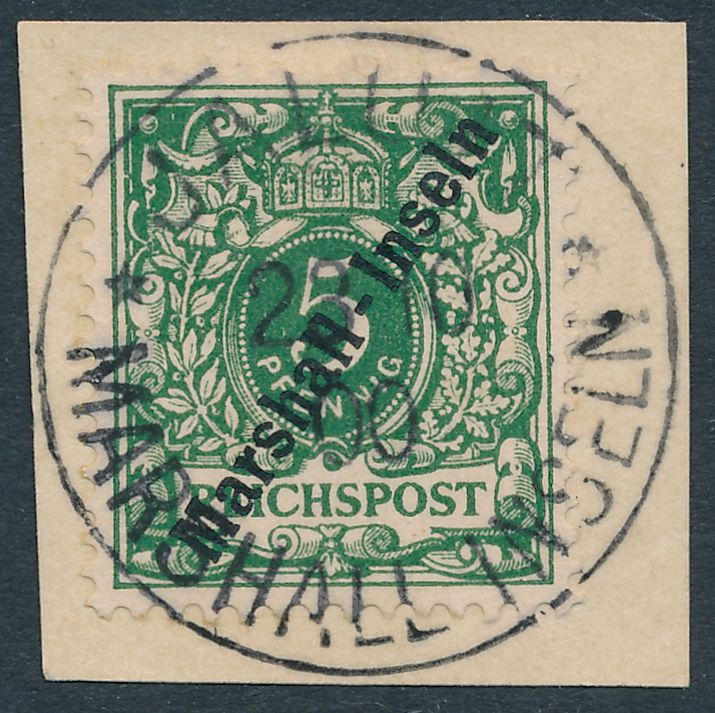 German Marshall Islands sc# 8 Used on Piece October 1900 - Expert: K.PAEHLKE