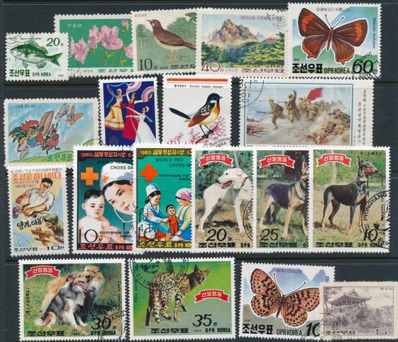 North Korea Lot of 41 Used Stamps from 1992 and earlier