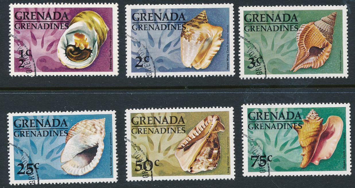 Grenada Grenadines sc# 137,139-143 - Topic Shells Seashells - CTO