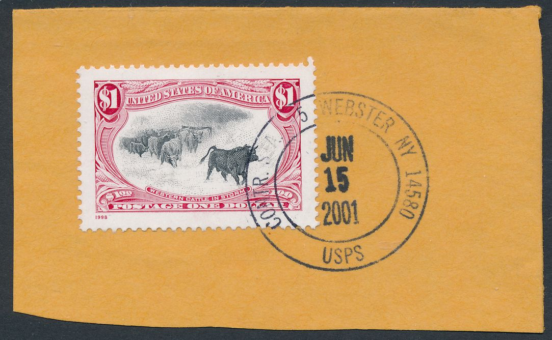 United States sc# 3209h used on piece in 2001 - pm 2001 at Webster NY